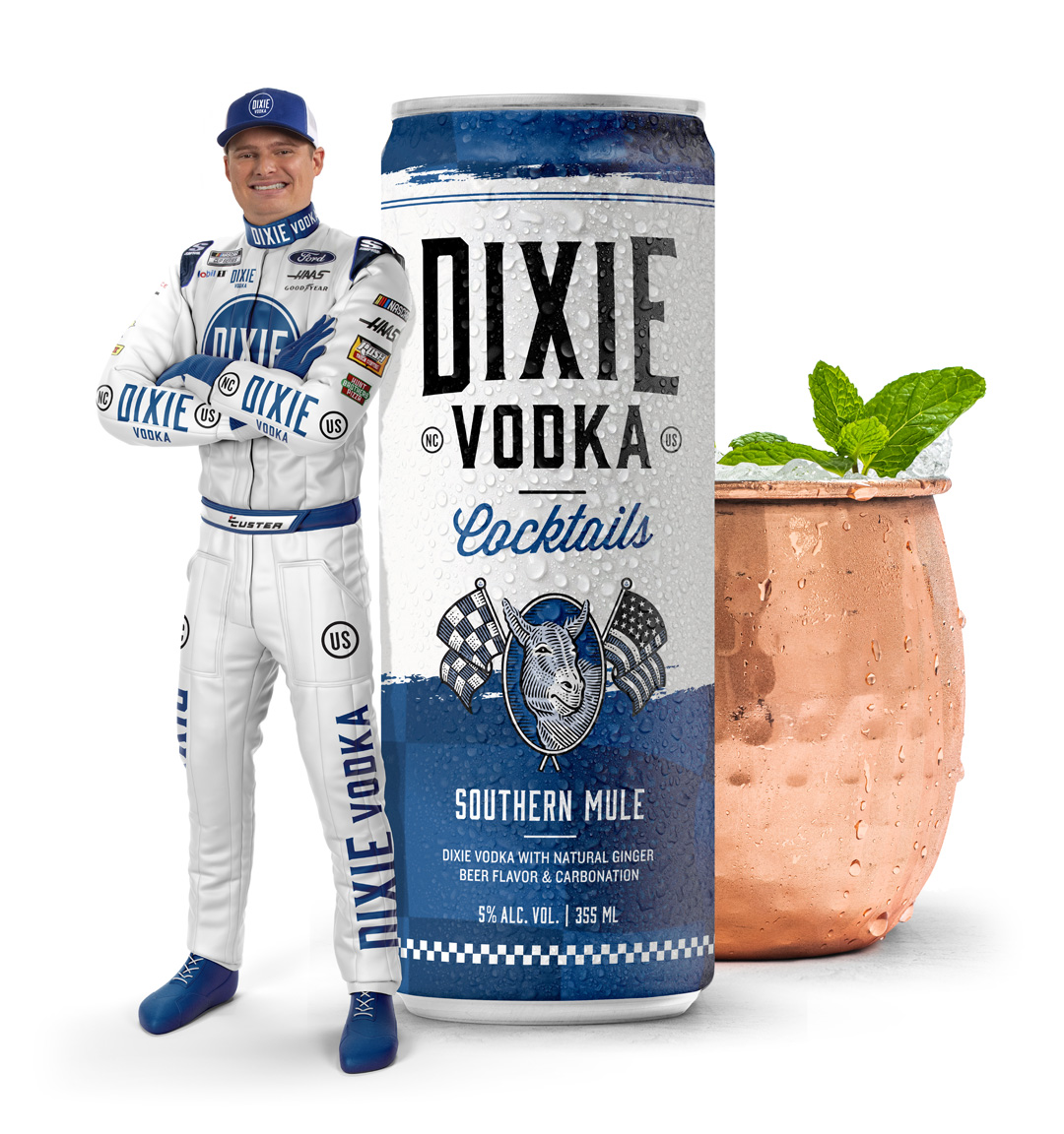 Cole Custer with Dixie Vodka Ready-To-Drink Southern Mule can and cocktail